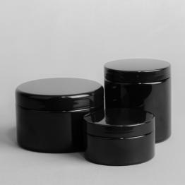 Black PET Screw Top Shallow Plastic Jar