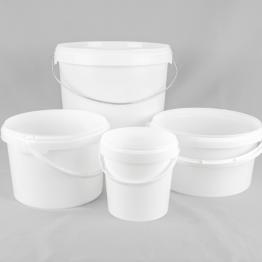 Round White Plastic Buckets/Pails