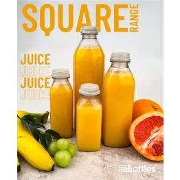 Square Plastic Juice and Smoothie Bottle PET