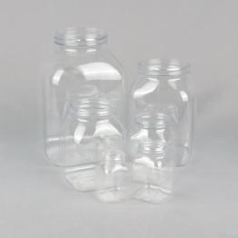 Wide Neck PETG Clear Square Jar