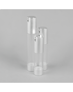 Round Clear Airless Bottle - Complete with Silver Pump (SCREW ON)